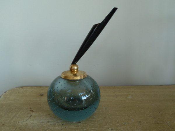 Vintage Whitefriars Blue Controlled Bubble Parker Pen Holder – Sold