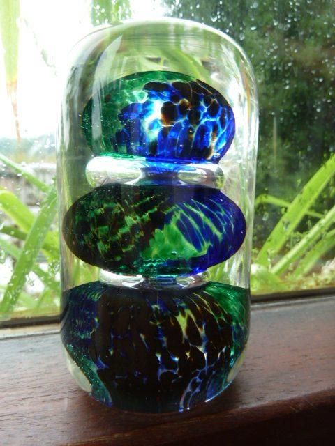 Avondale Glass Paperweight, Pembrokeshire Wales, Triple bubble – Sold