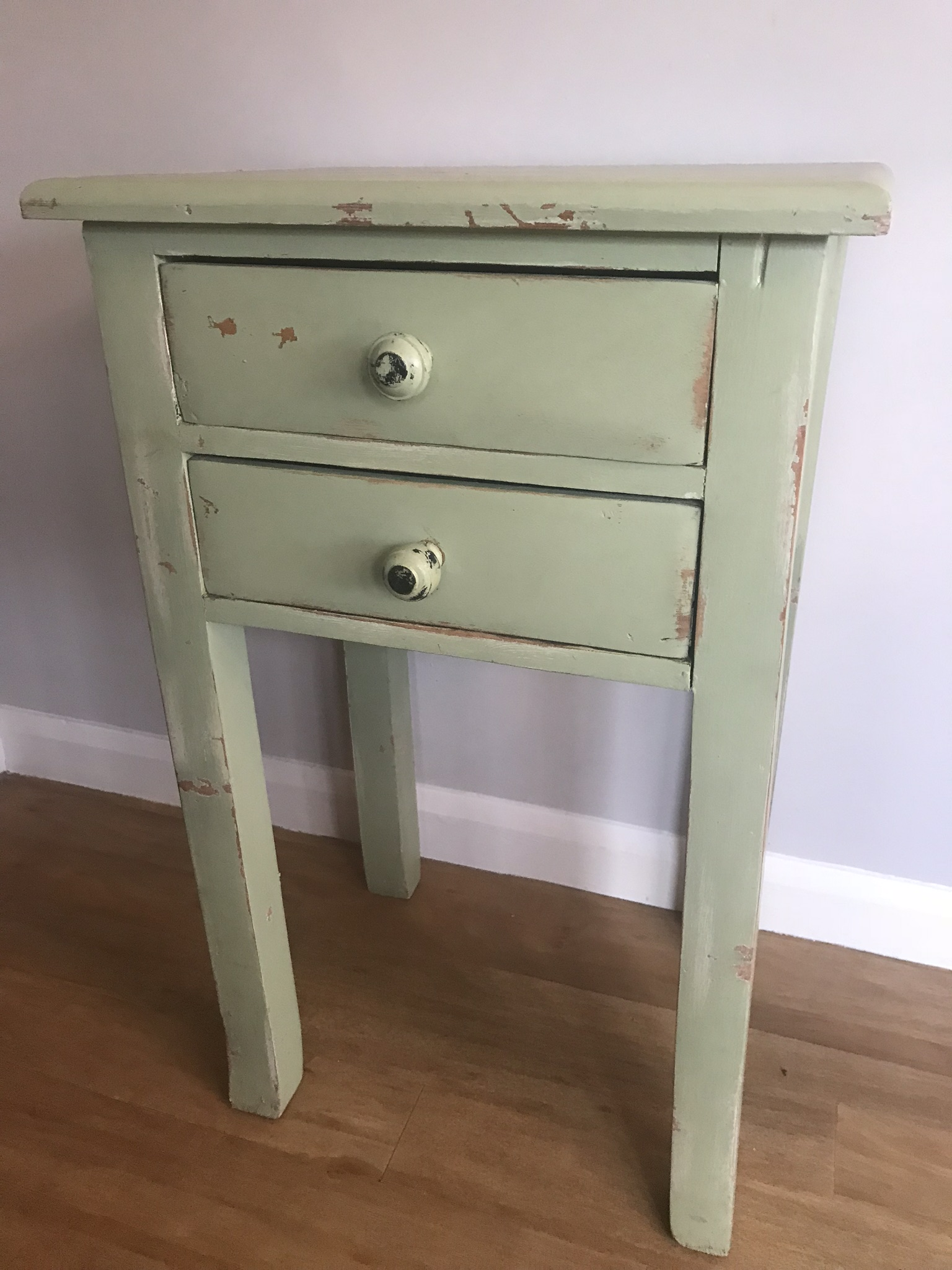 Painted pine dairy press two drawer table - Sold - In the ...