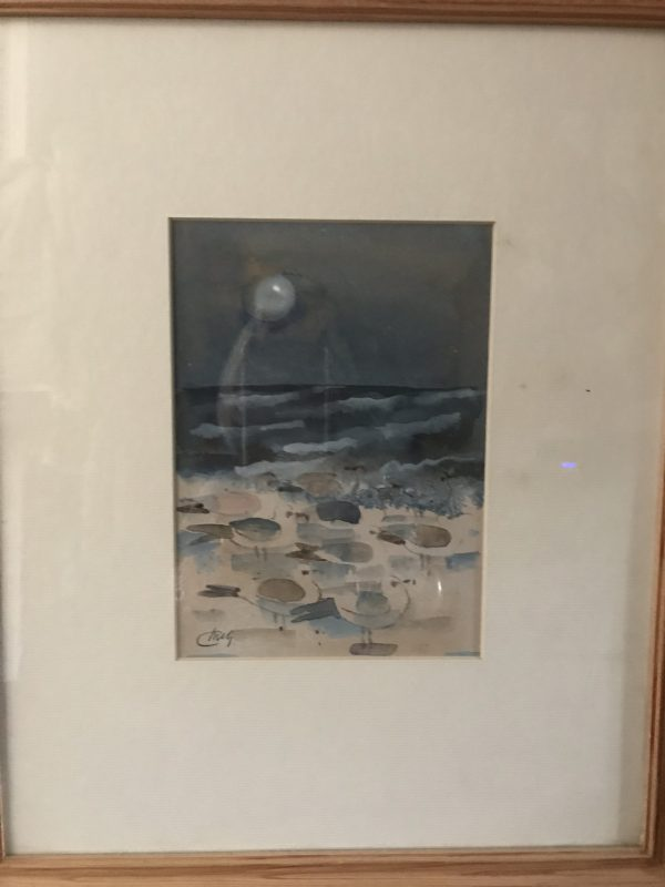 Framed Ink and Watercolour of November Gulls – Sold
