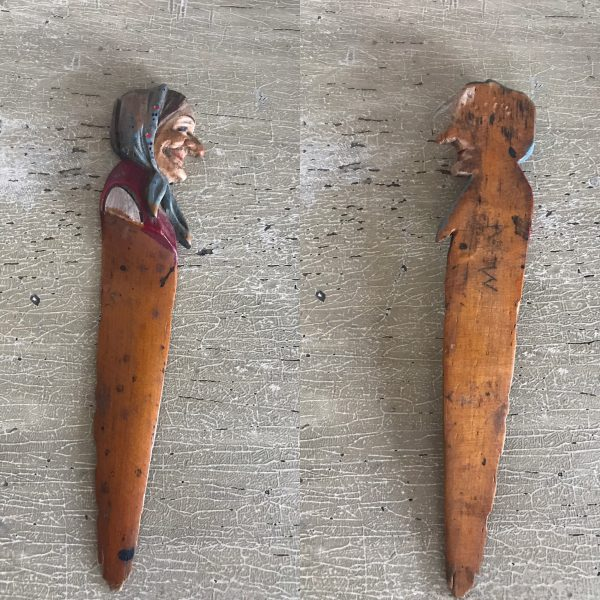 Vintage Treen Folk Art Old Woman Letter Opener – Sold