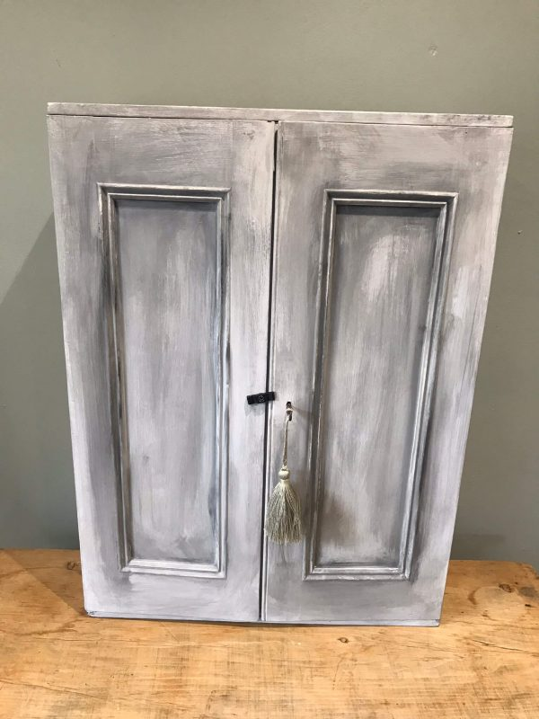 Vintage Painted Grey Wall Cabinet – £70