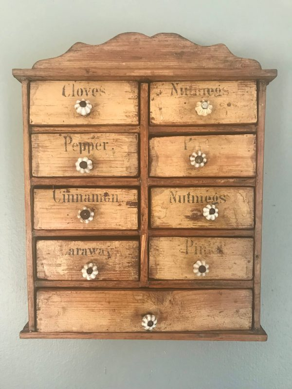 Antique Wall Hanging Spice Drawers – Sold