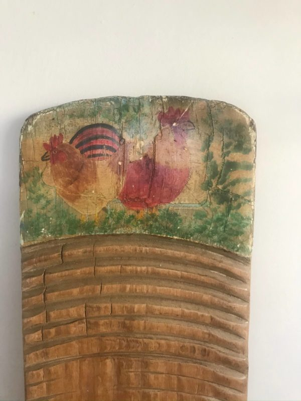 Antique Washboard with Hand Painted Chicken Decoration – £55