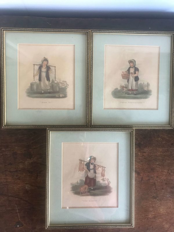 Three Charming Antique Cries of London Prints – £40