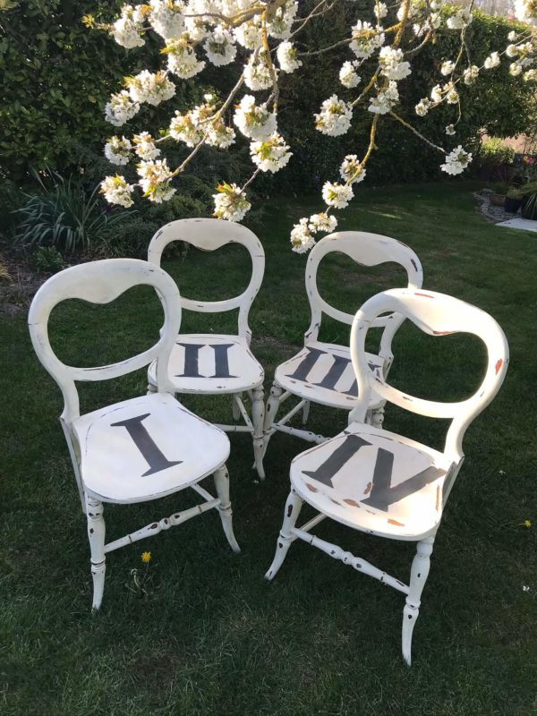 Set of Four Up-cycled Balloon Back Chairs – £125