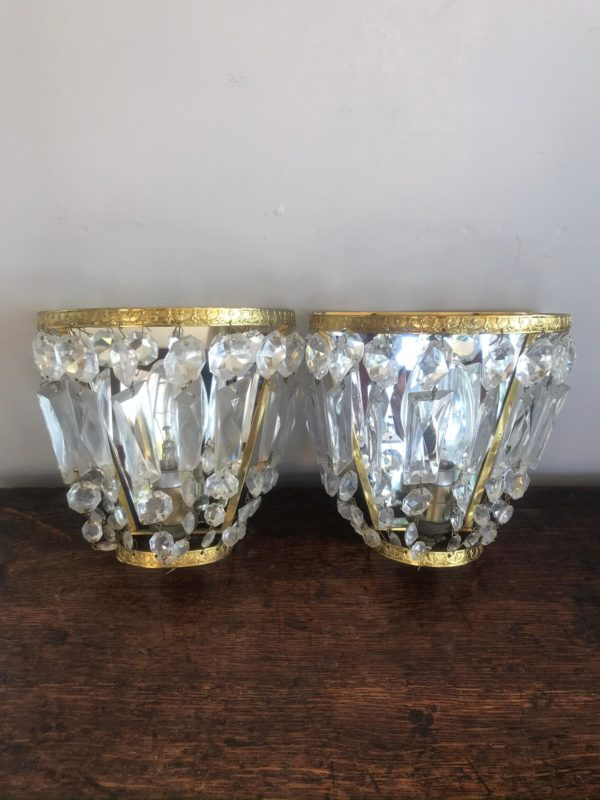 A Pair of Vintage Glass Chandelier Droplet Side Lights – Sold