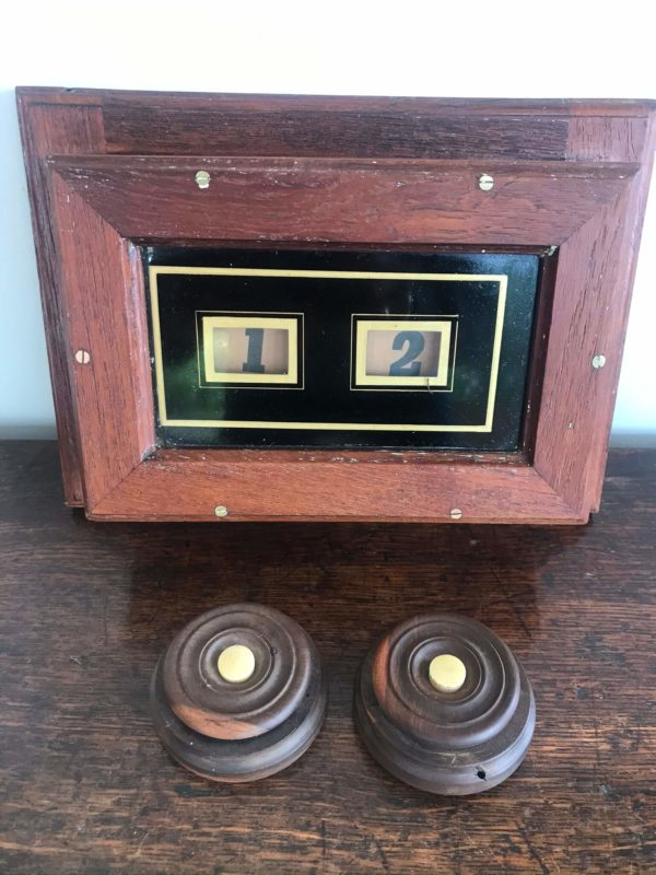 Antique Servants Bell Indicator Box with Two Bell Pushes – Sold