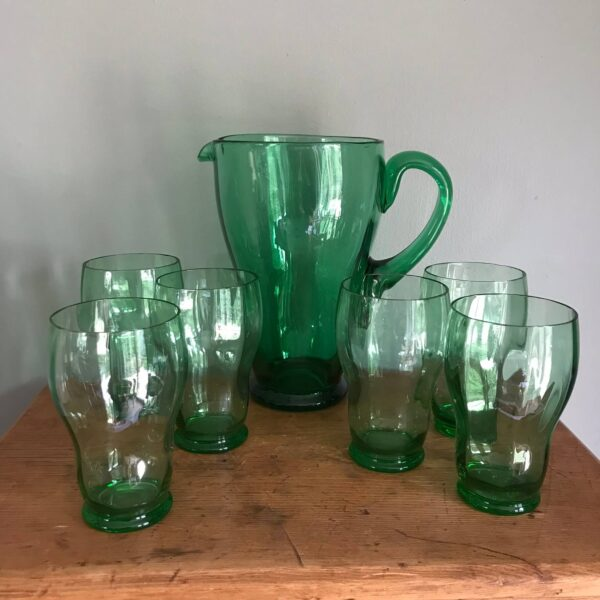 Vintage Green Glass Lemonade Set – Sold