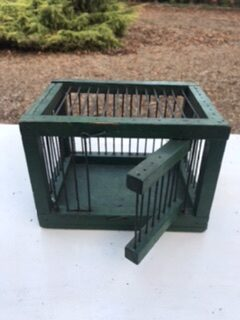 Vintage Small Finch Bird Cage in Original Green Paint – £30