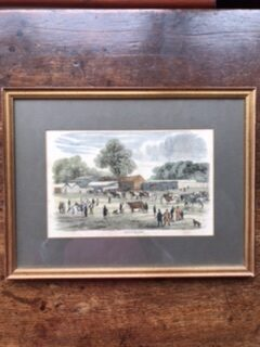 Framed Antique Print 'Arrival of the Cattle' – £25