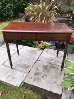Victorian Stained Pine Two Drawer Side Table – £155
